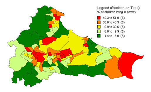 Children in poverty, Tees wards map, 2010